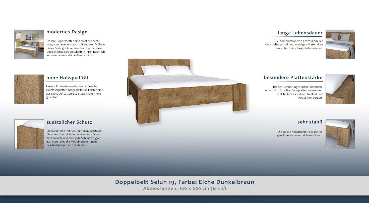 Doppelbett Selun 19, Farbe: Eiche Dunkelbraun - 160 x 200 cm (B x L ...