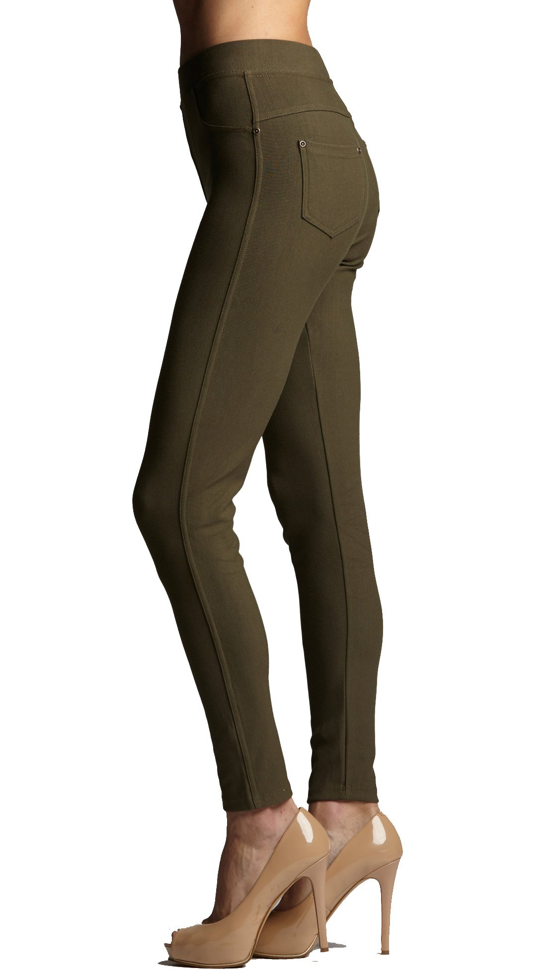 Conceited Premium Soft Jeggings Denim Leggings in 7 Colors - Regular and Plus Sizes by (Large/X-Large, A Olive)