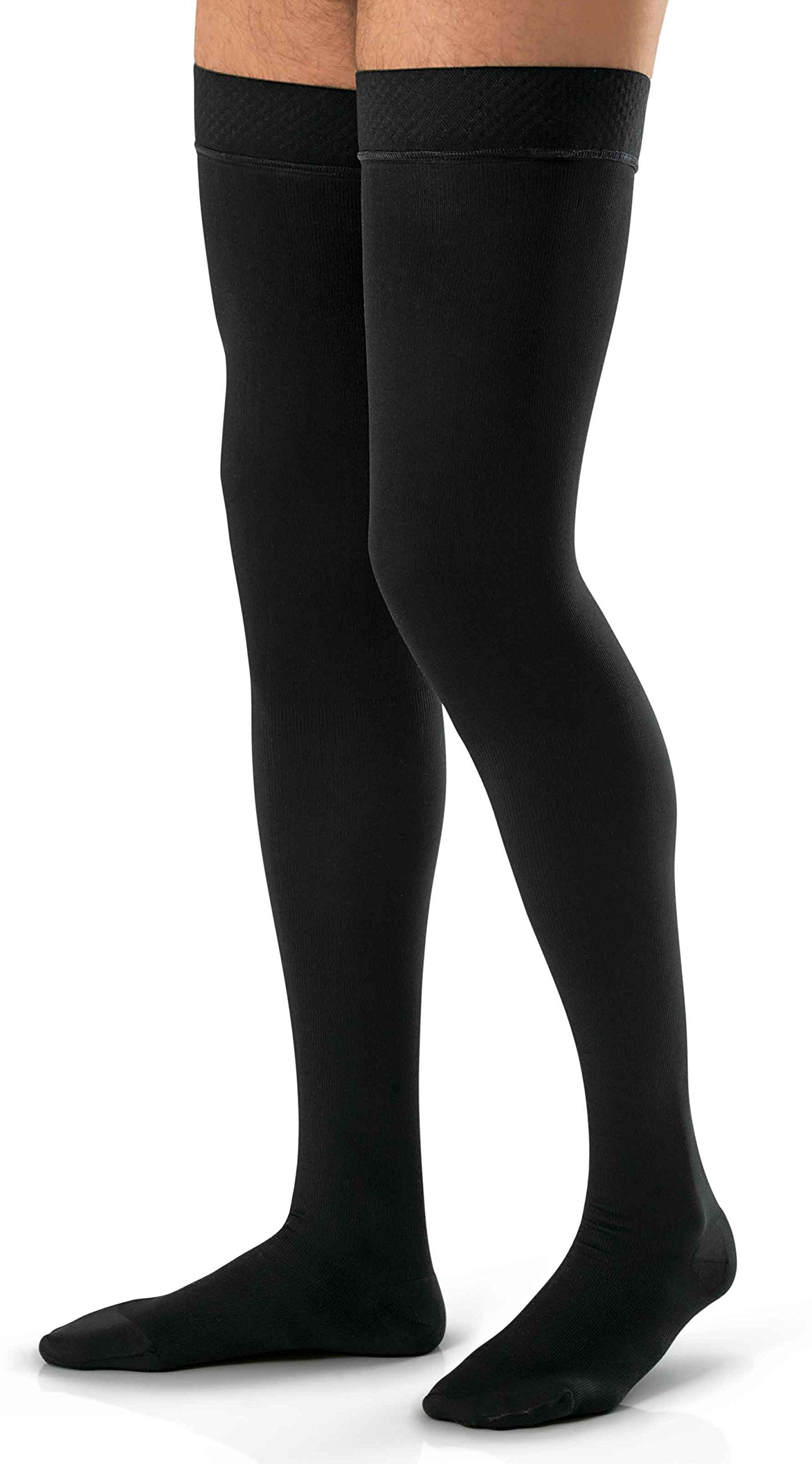 JOBST forMen Thigh High 20-30 mmHg Ribbed Dress Compression Stocking, Closed Toe, Medium, Black