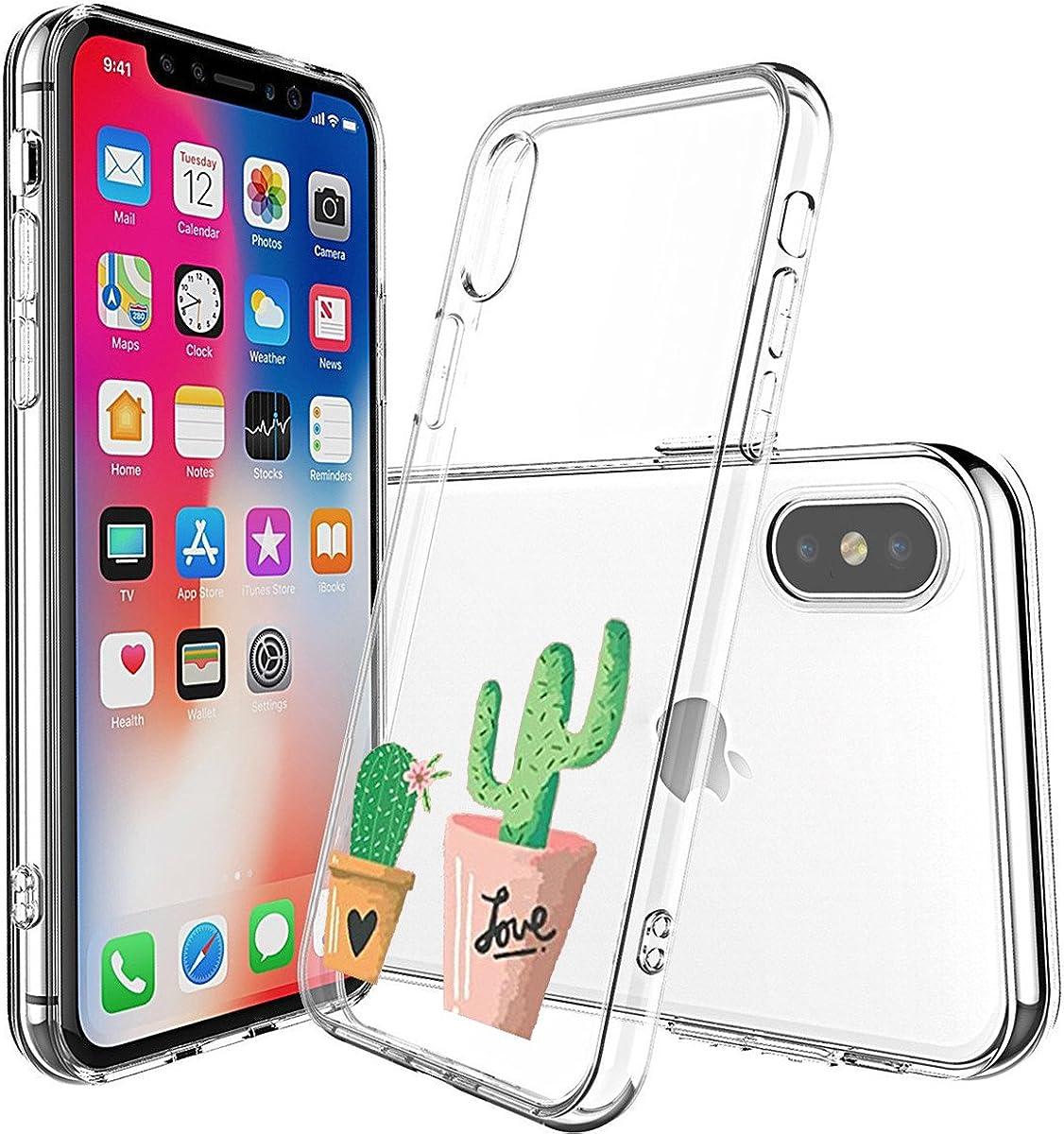 Cover iPhone X Trasparente, iPhone X Cover Silicone Ultra Simpatico Disegno Animale Slim Custodia in Silicone Antiurto No-Slip Anti-Graffio Semi ...