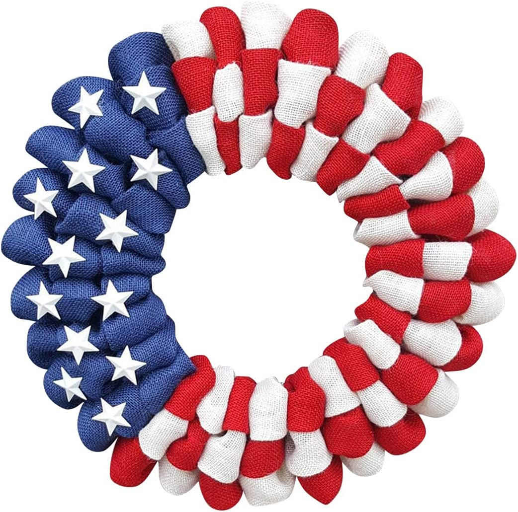 4th of Julys Wreath & Veterans Day Decor, Patriotic Wreath for Front Door, Handcrafted Independence Day Wreath, Porch Decoration Front Door Outdoor Hanging Wreath Decor (F)