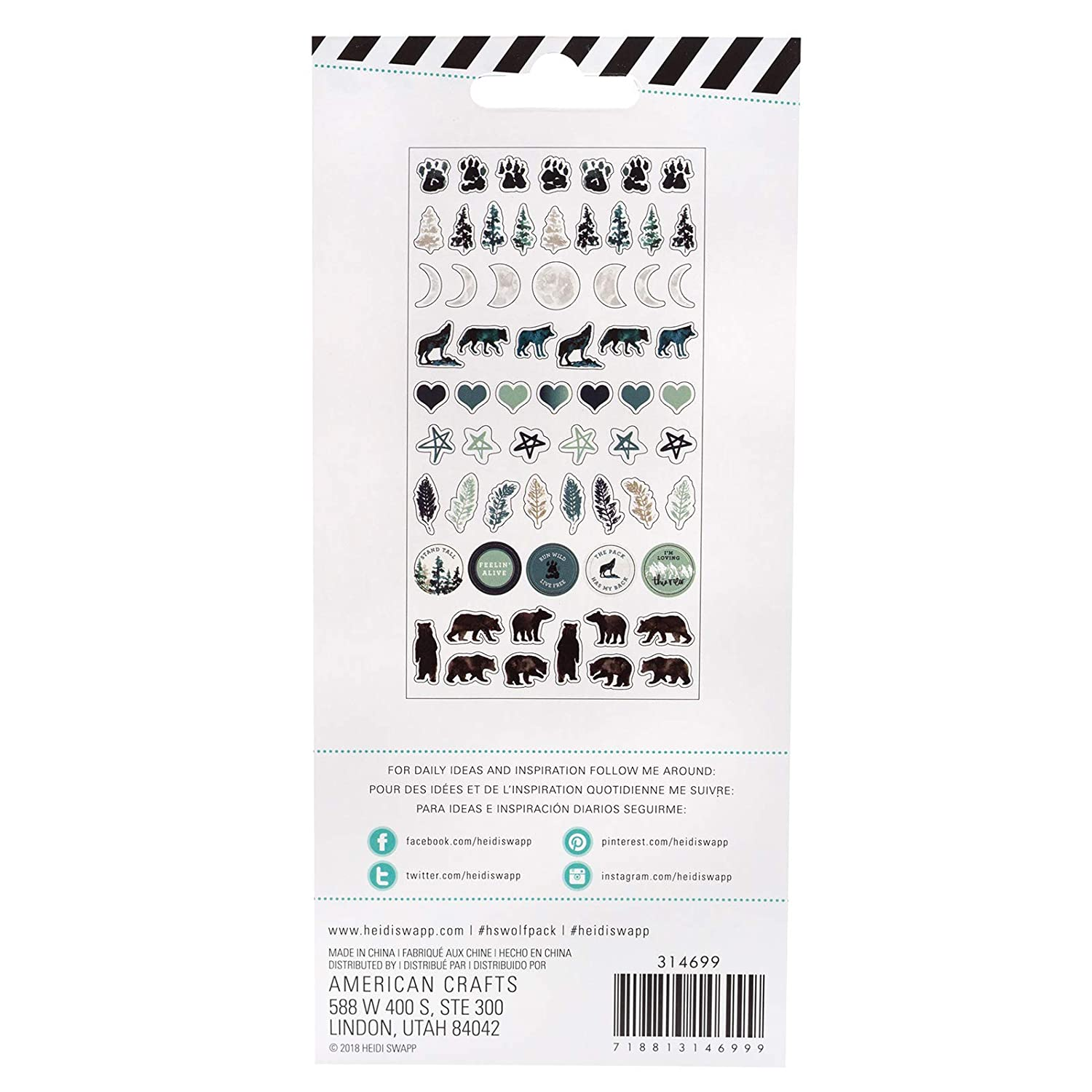 65 Dimensional Stickers Heidi Swapp American Crafts Wolf Pack Puffy Embellishment Sticker Kit