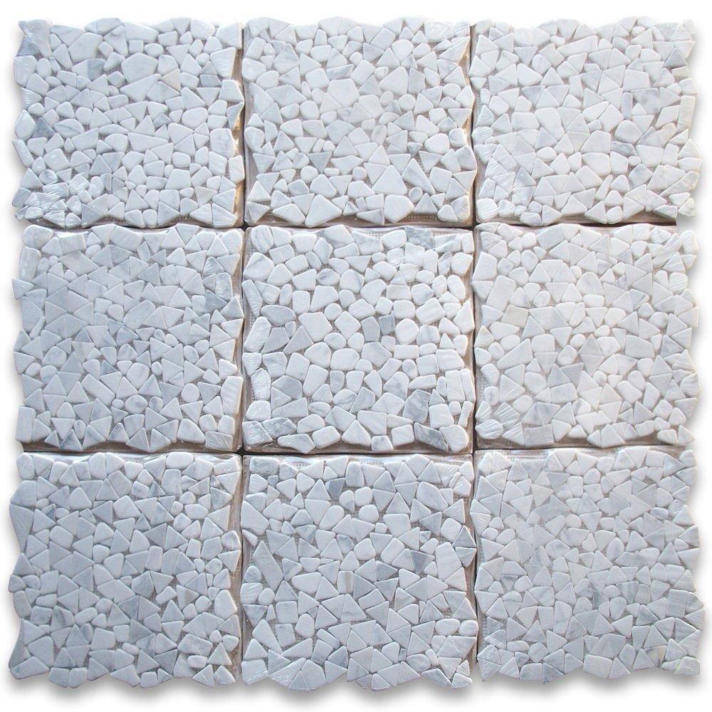 Calacatta Gold Italian Calcutta Marble River Rocks Pebble Mosaic ...