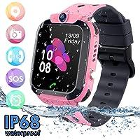 bhdlovely Montre LBS Enfant Tracker Étanche Telephone Montre Connectée Enfant Fille Garçon SOS Smart Watches(Pink)
