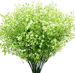 KLEMOO Artificial Shrubs Bushes 4 Pack Fake Outdoor UV Resistant Plants Flowers, Faux Plastic Bell Leaves Greenery for Indoor Outside Hanging Planter Home Office Wedding Farmhouse Decor (White)