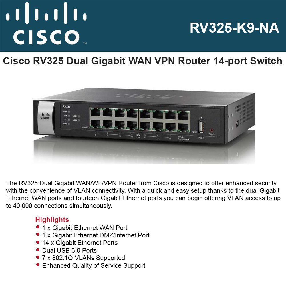 Cisco Rv325 Dual Gigabit Wan Wf Vpn Router Cisco