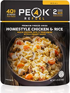 Peak Refuel Homestyle Chicken and Rice | Freeze Dried Backpacking and Camping Food | Amazing Taste | High Protein | Real Meat | Quick Prep