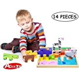 Acool Toy Building Blocks,3D Wooden Puzzle,Standard Unit Solid Wood Building Blocks with Wooden Storage Tray - Creativity Beyond Imagination,Inspirational,Recreational,Educational,Conventional