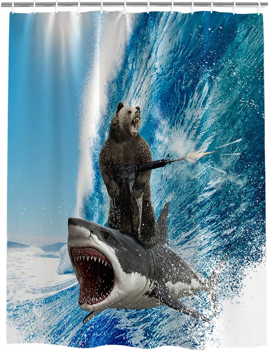 Vandarllin Beach Theme Funny Bear Shark Surfing Fabric Shower Curtain Bathroom Decor Sets with Hooks, Stall 36 X 72 Inch
