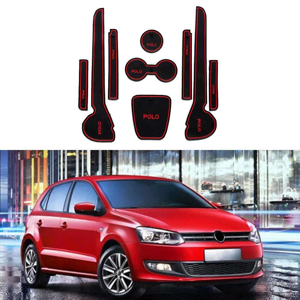 Techting Puerta de Coche Groove Cojines Antideslizantes de la Puerta de la Ranura del coj/ín autom/ático a Prueba de Polvo Mat Interior para Volkswagen Polo 11-16