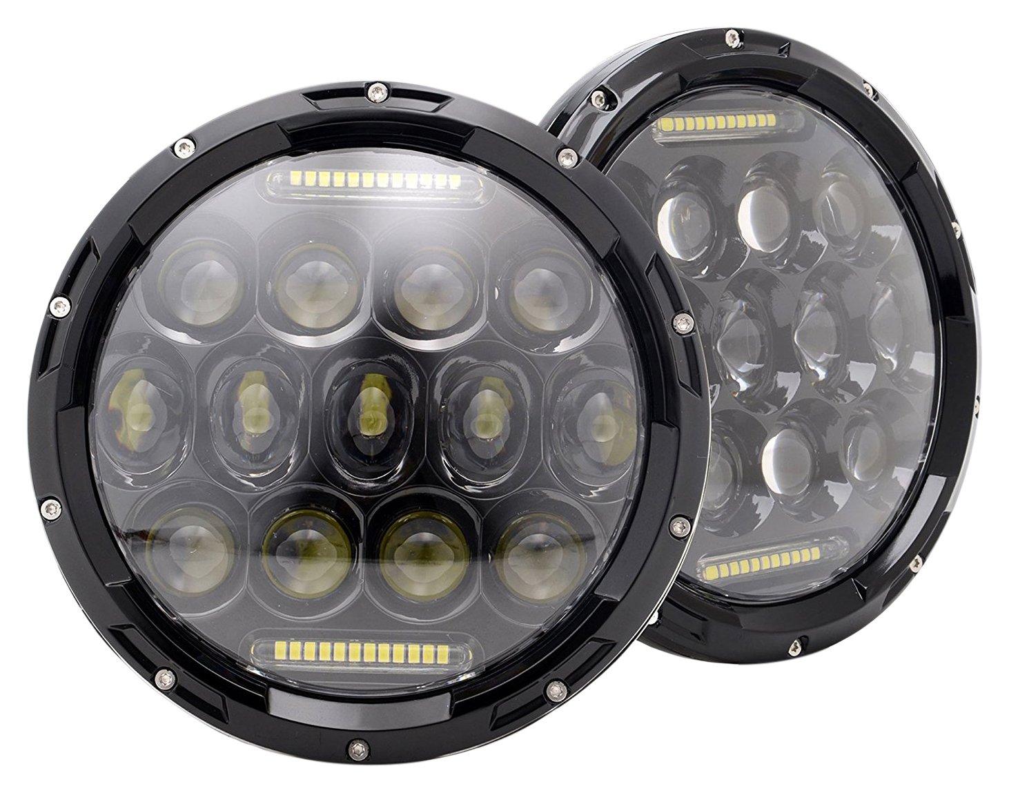 Turbosii Dot Approved Pair 7 75w Round Driving Led Fluorescent Light Bulbs Diagram Lamp Eurolite 23w Has A Headlights With White Drl Hi Lo Beam For Jeep Wrangler Cj 5 1997 2017 Tj Lj Jk Jku