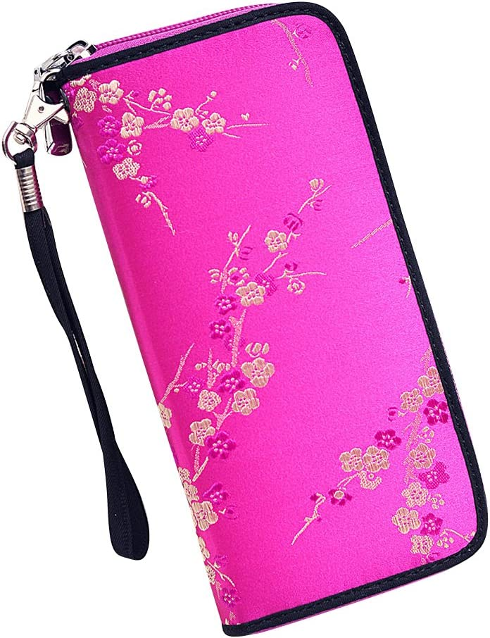 Wallet for Women Fashion Large Capacity Embroidery PU Leather Lady Zipper Flower Pattern Purse Handbag with Card Slots and Arm Wrist Strap Card Holder Case Phone Pouch for 5.5inch Phone Black