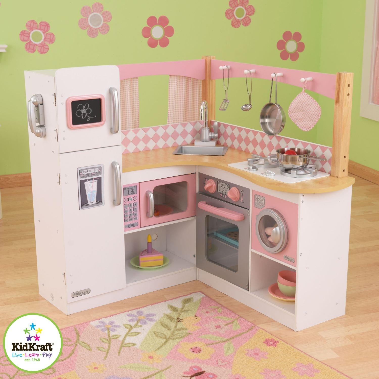 精美小厨房,KidKraft 粉色角落木厨房玩具套装