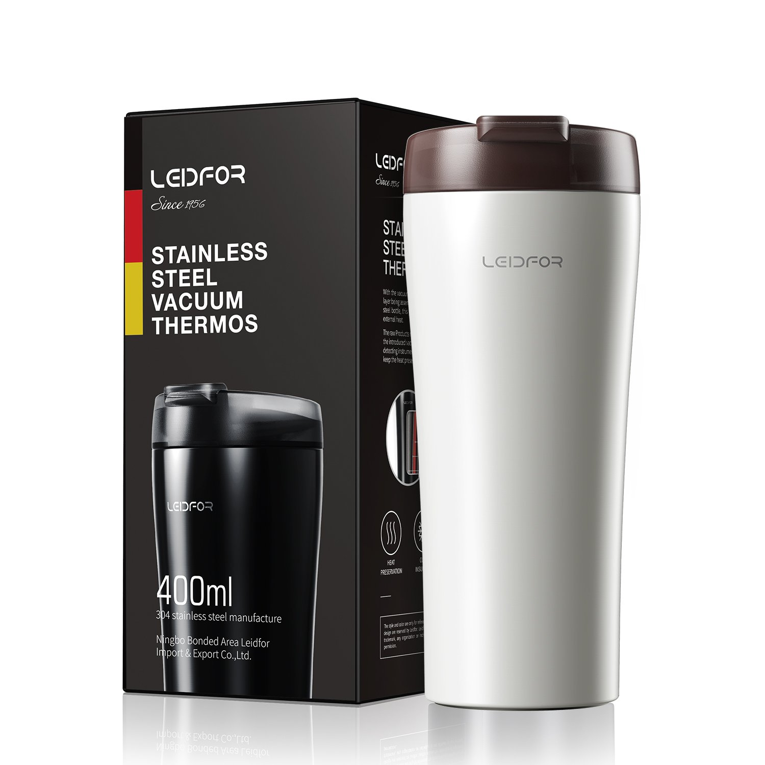 Coffee Travel Mug,Stainless Steel Vacuum Insulated Tumbler 16ounce, Thermos Cup With Lid WHITE