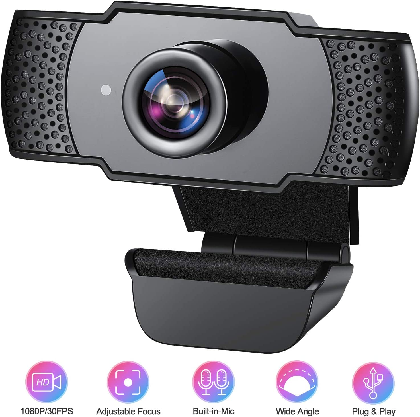 Webcam with Microphone for Desktop, ANVASK 1080P HD Web Cameras for Computers with Plug and Play USB, Camera and Microphone for Zoom/Video Calling Recording/Gaming/Conferencing/Skype Streaming/Laptop