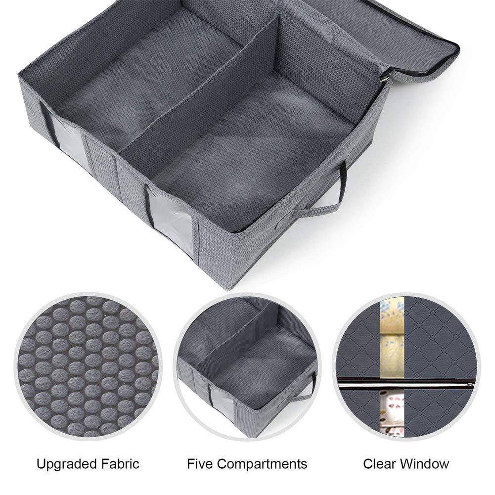 AUOTO 84L Aufbewahrungstasche Große Kleideraufbewahrung Faltbare Aufbewahrungsbeutel mit Reißverschluss und Sichtfenster für Bettdecken/Kleidung/Bettzeug/Decke/Kissen, 2 Stück