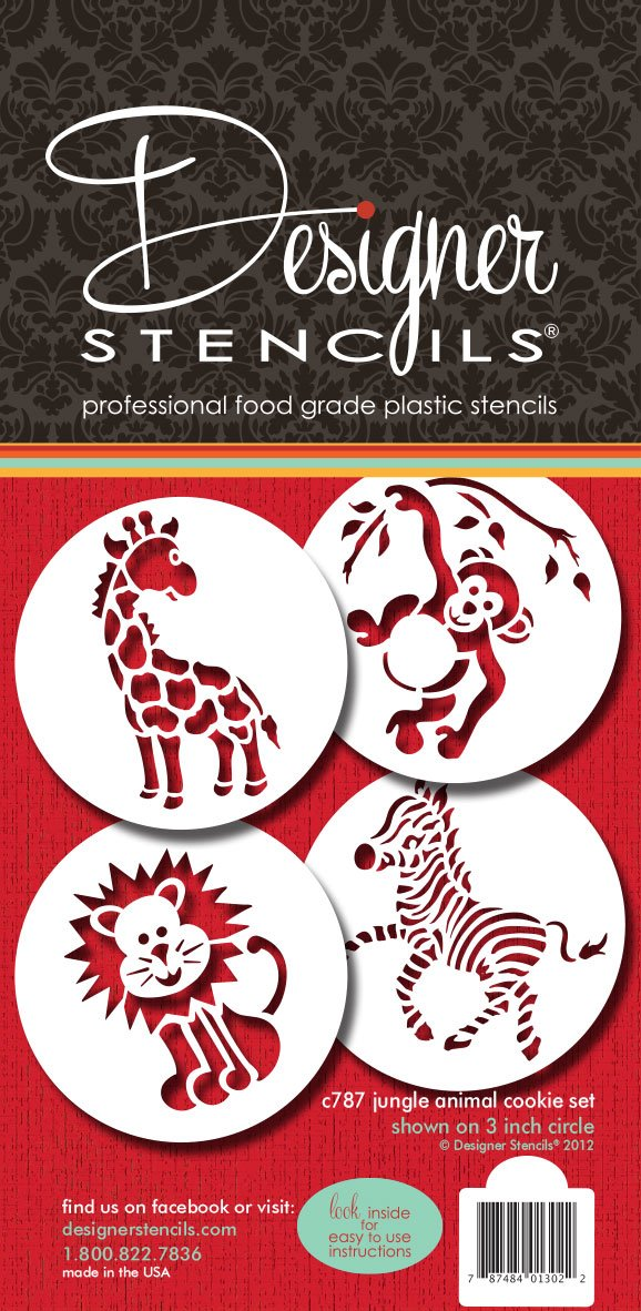 Designer Stencils C787 Jungle Animals Cookie, Beige/Semi-Transparent by Designer Stencils