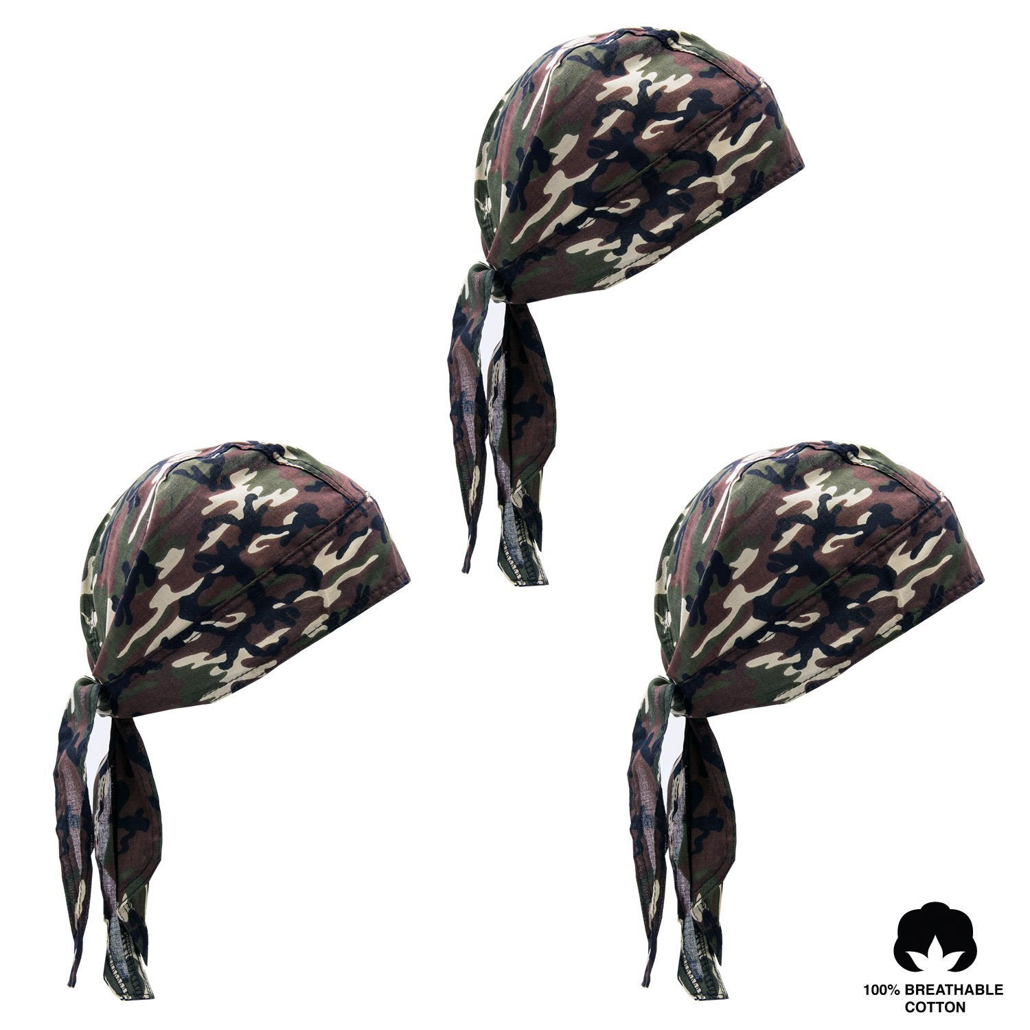 Elephant Brand Doo Rag 100% Cotton - Skull Cap Beanie for Cycling - Head Wrap Pack of 3 (Camouflage)
