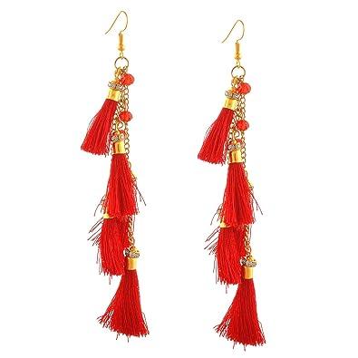 d097f9d0c Buy Zephyrr Red Metal Hook Tassel Dangle & Drop Earrings For Women Online  at Low Prices in India | Amazon Jewellery Store - Amazon.in