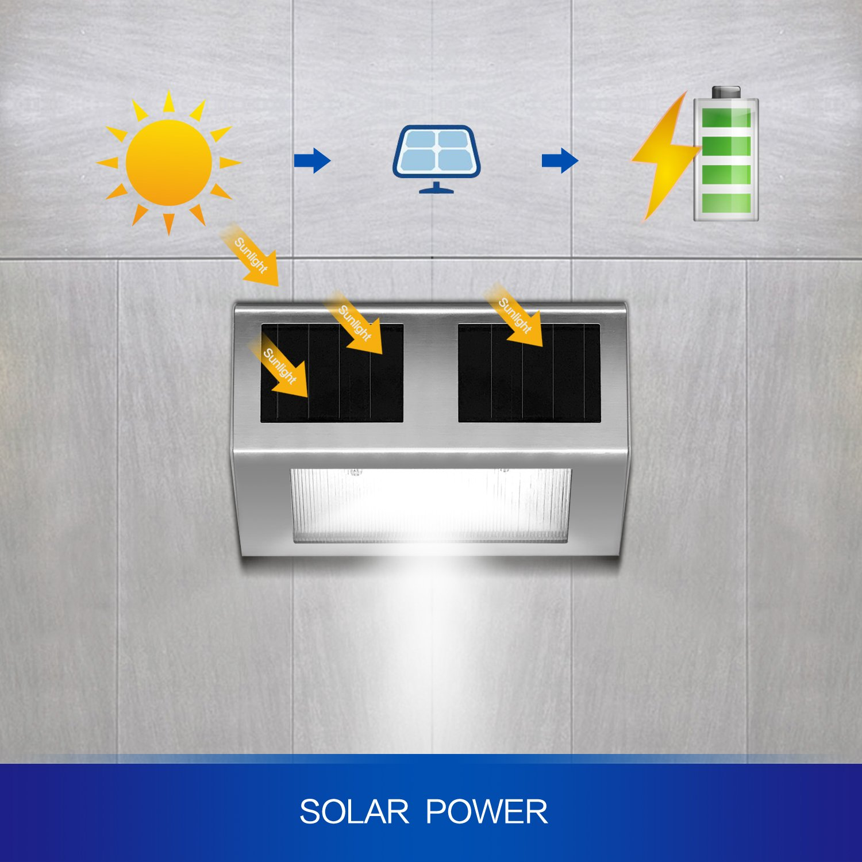 6-Pack Deck Yard HIGUNE Outdoor Solar Powered LED Stainless Wall Light Step Light for Patio Garden Fence Roof Gutter Sun Power Smart Security Light