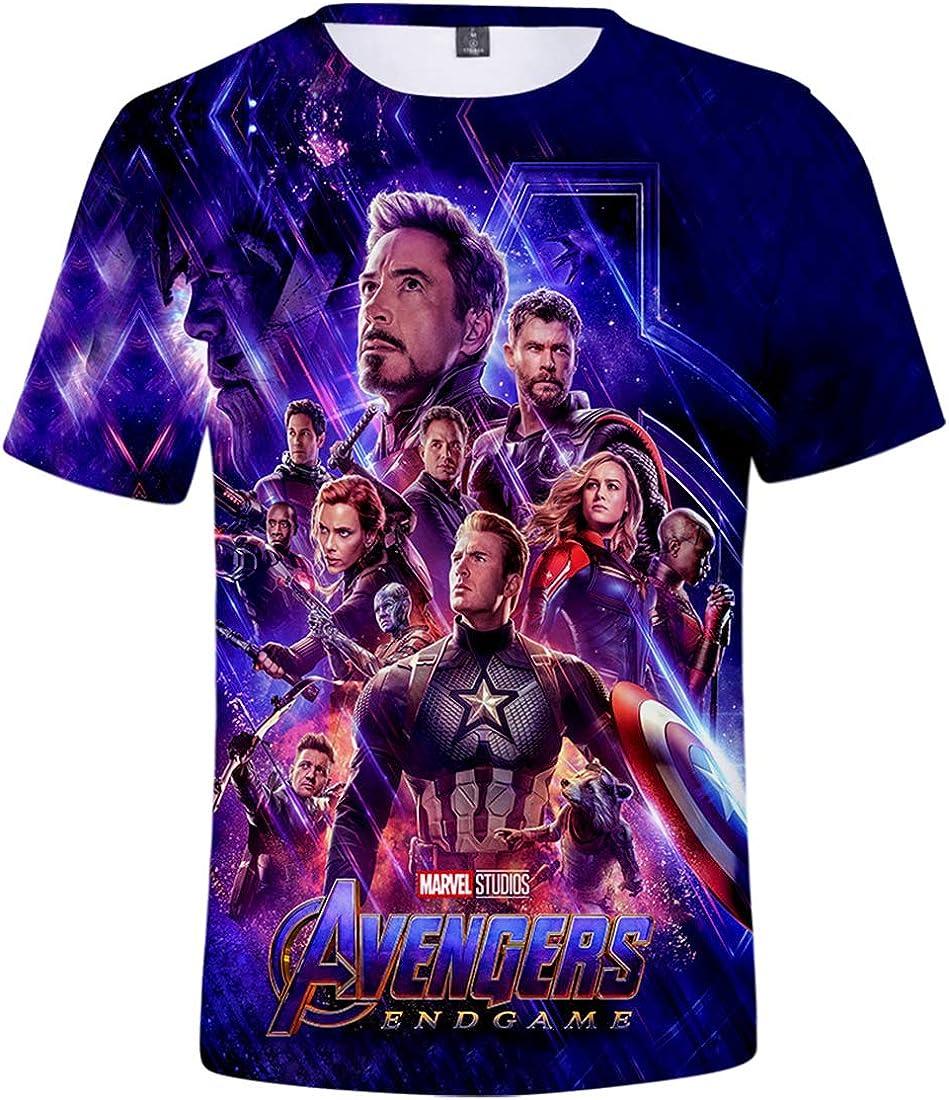 PANOZON Uomo T-Shirts 3D Stampa Figura di Avengers Endgame Film Girocollo Sportivo Maglietta in Forma Top