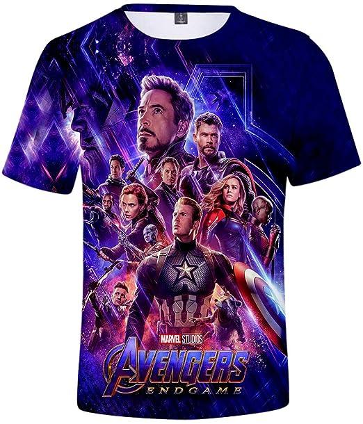 FLYCHEN Hombre Camisetas Vengadores Avengers 3D Impresión Endgame T-Shirt Manga Corta Coloreado Superhéroes