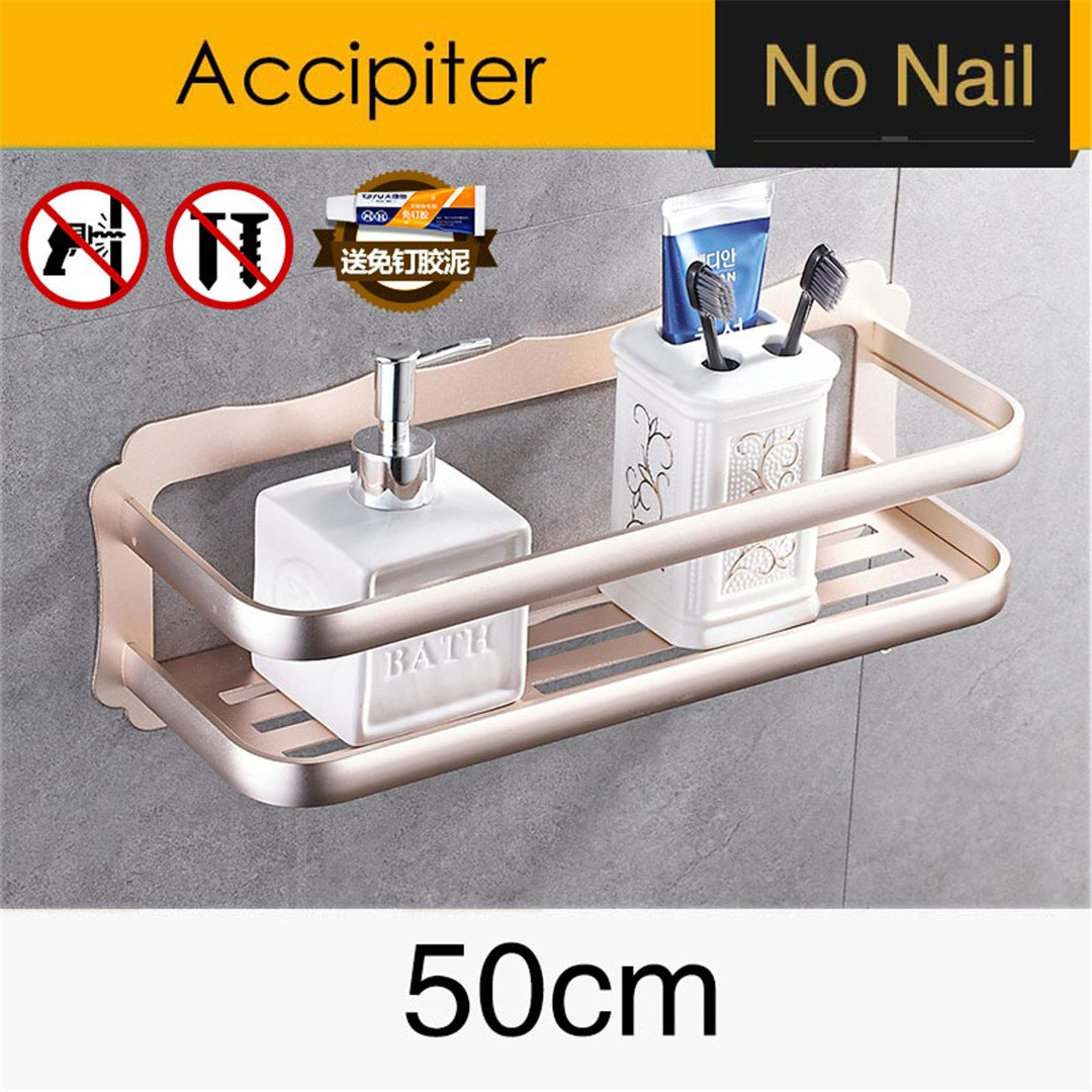 Nail Free Light Space Aluminum Bathroom Shelves Wall Mount Bathroom Shelf Bathroom Storage Rack Easy to Install BS-015G50-2