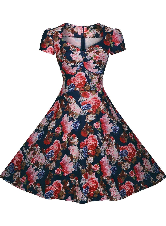 Miusol® Damen Sommerkleid Kurzärmel Blume Patterned Cocktailkleid Faltenrock Retro 1950er Jahre Kleid Blau Größe 36-44