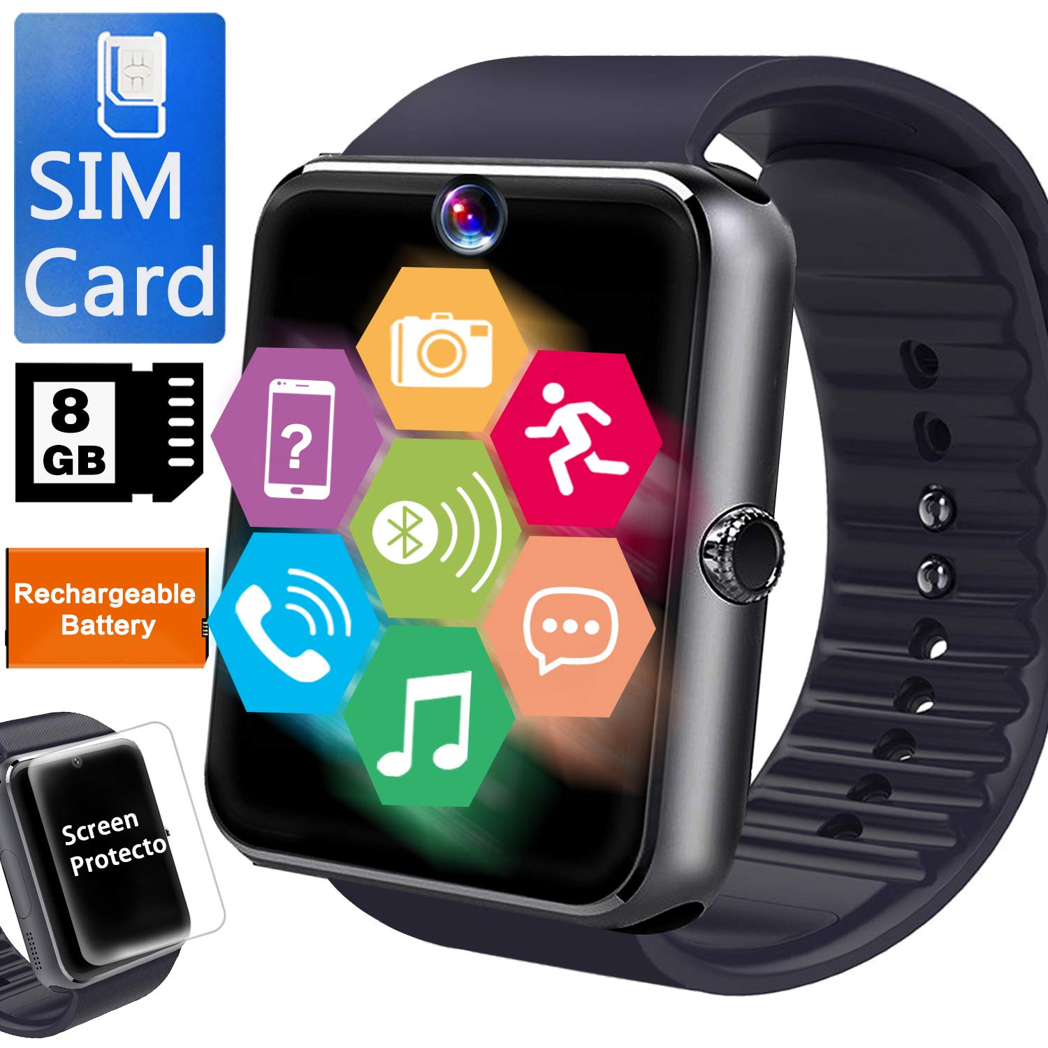 Smart Watch for Android Phone-[Free SIM 8GB SD Card]Business Smartwatch for Men Women with Full Touchscreen Two-Way Calling Camera Music ...