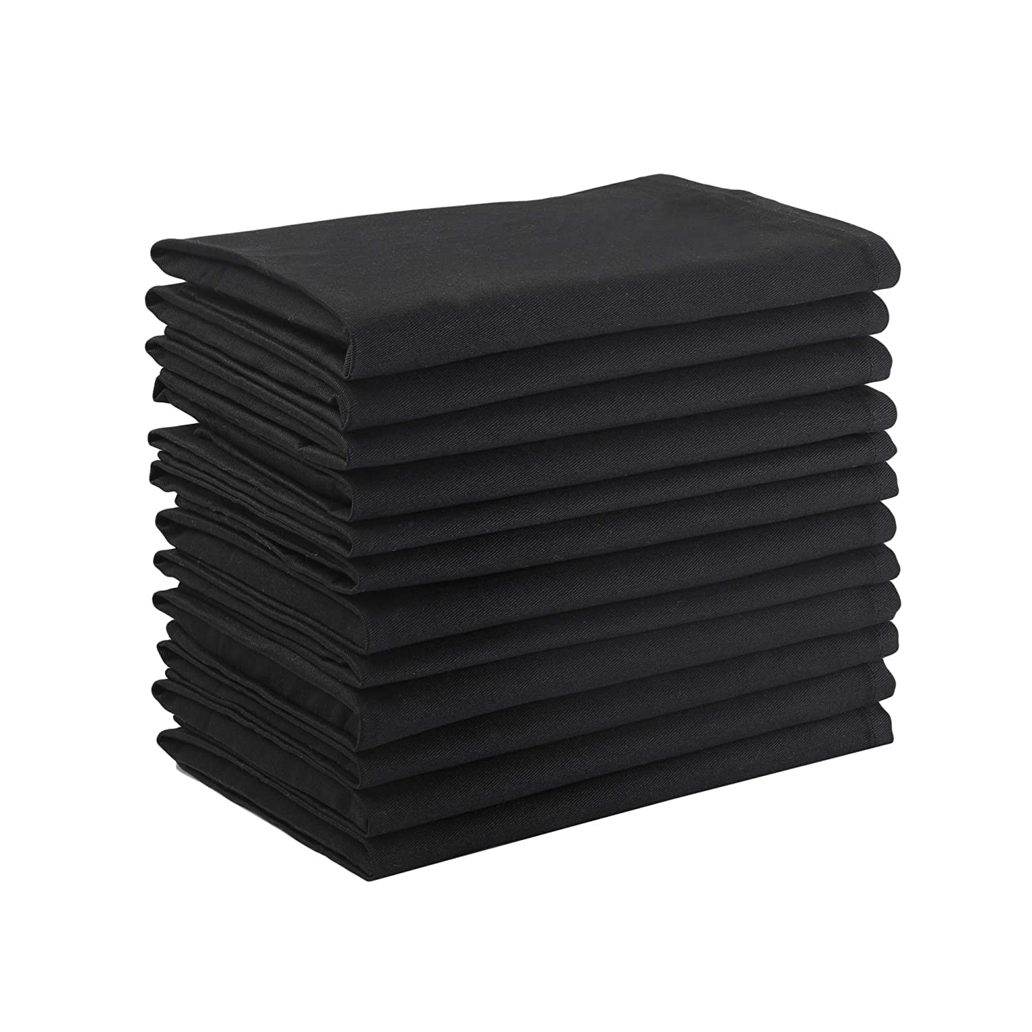 Dinner Napkins, 100% Cotton, Black, Set of 6, 18 x18