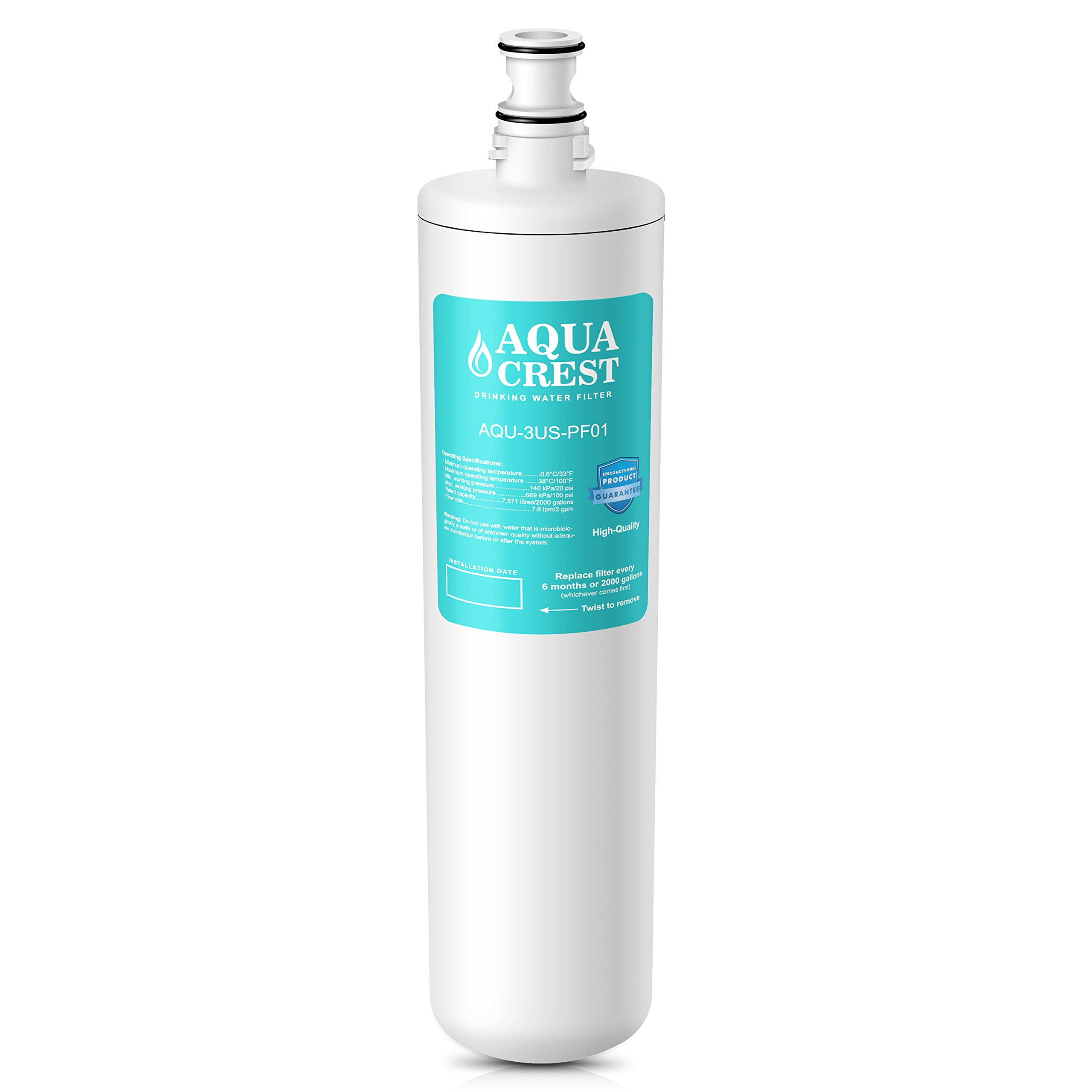 AQUACREST 3US-PF01 Replacement Under Sink Water Filter, Compatible with Filtrete Advanced 3US-PF01, 3US-MAX-F01H, 3US-PF01H, Delta RP78702, Manitowoc K-00337, K-00338 Water Filter by AQUA CREST