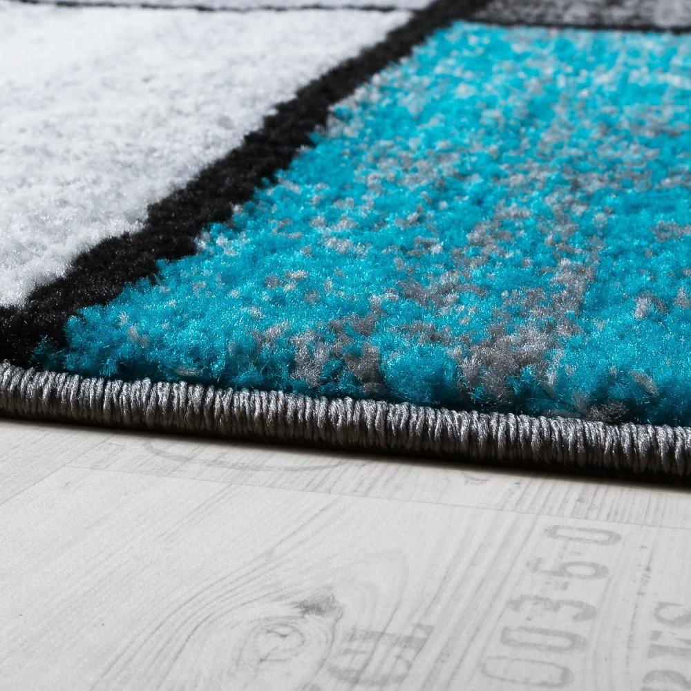 Paco Home Tapis Design Moderne Poils Ras Carreaux Sp/écial Chin/é Gris Noir Turquoise Dimension:60x100 cm
