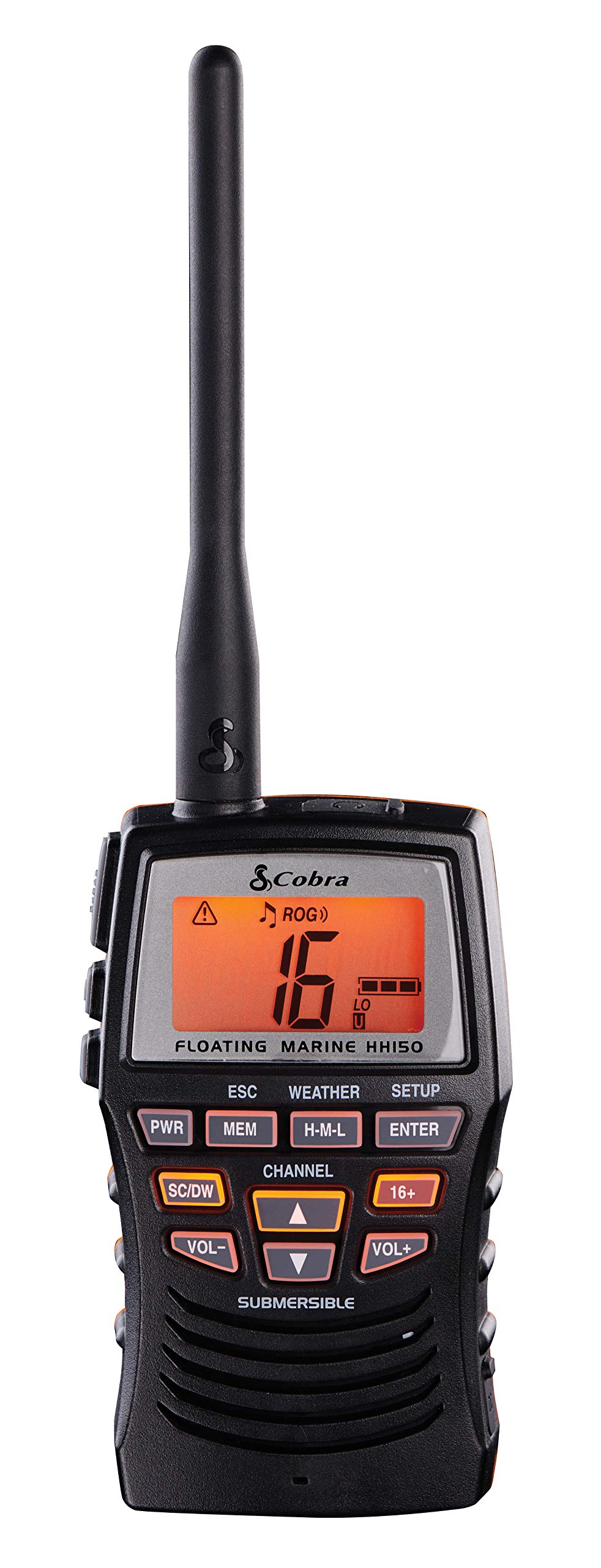 Cobra Marine Radio - MR HH150 FLT - 3 Watt, Floating, Long Range, Handheld, VHF Radio, NOAA, International, Waterproof, Submersible, Weather Alerts, LCD Screen, Belt Clip by Cobra