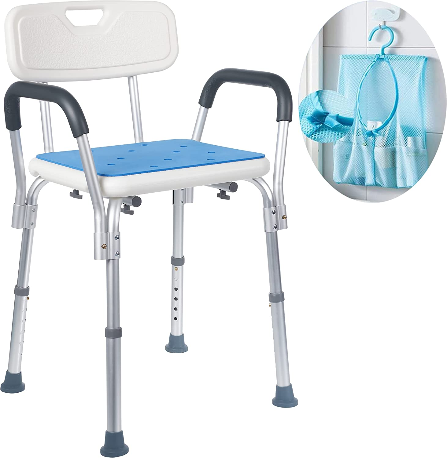 Medokare Shower Chair For Elderly Easily Adjustable Chairs For Inside Bathtub Or Shower With Arms Back For Adults And Seniors With Handicap White Health Personal Care
