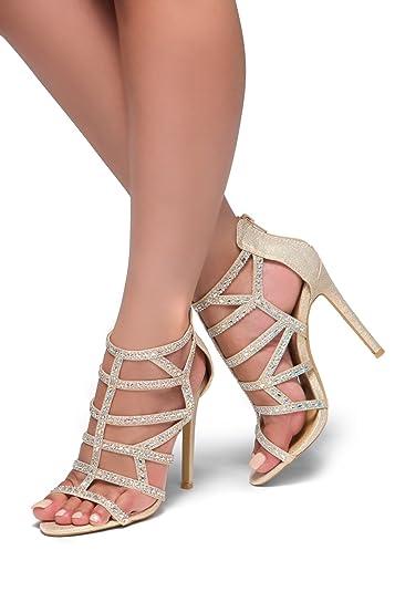 33f606569a0 Herstyle NORTA New Women s Rhinestones Studs High Heel Sandal Rose Gold 9