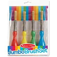 Melissa & Doug Jumbo Brush Set - 4-Pack, Paintbrushes in Red, Blue, Green, Yellow
