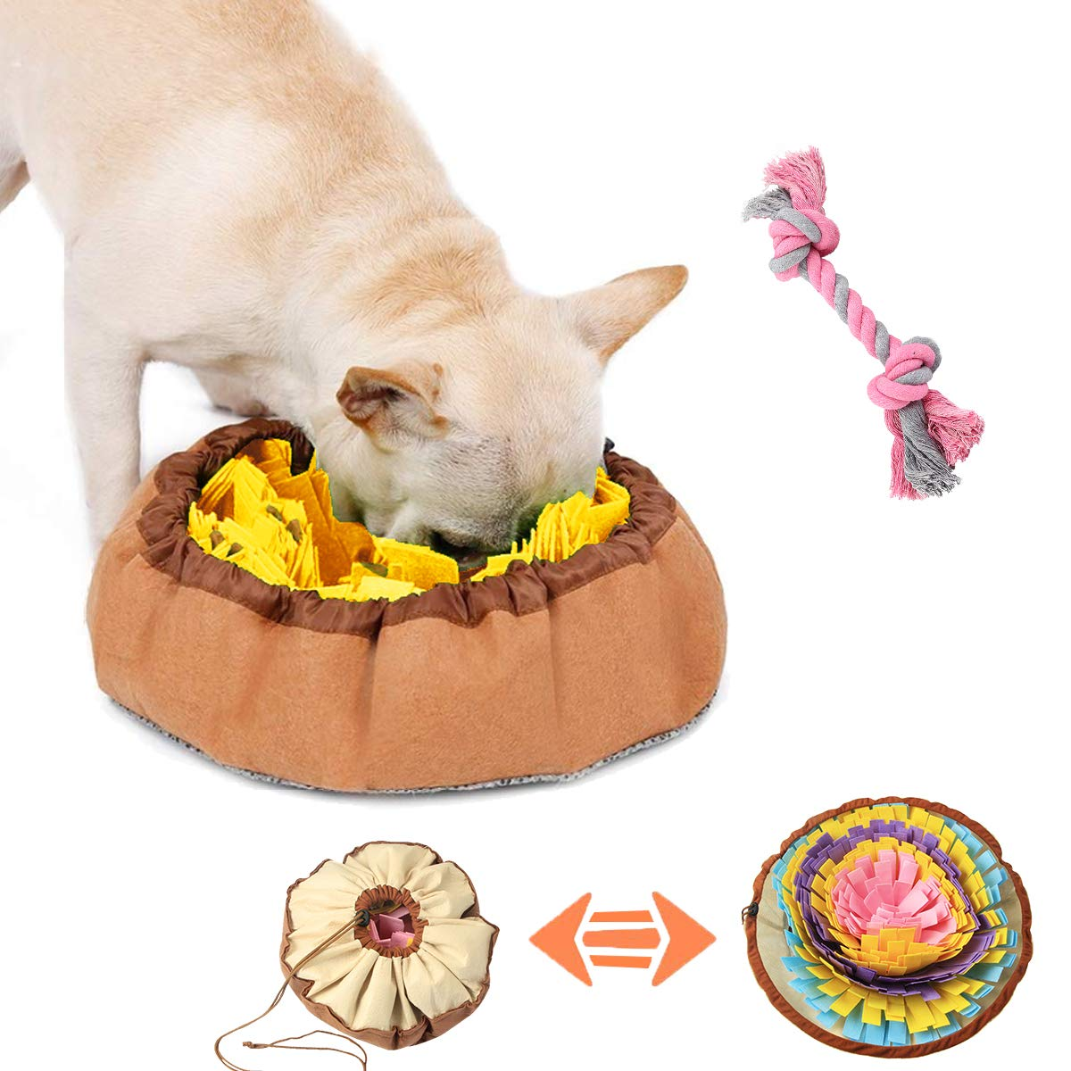 Coomour Dog Slow Feeding Training Mat, Pet Snuffle Mat Pet Floral Activity Mat for Dog Foraging Skills and Stress Release (One)