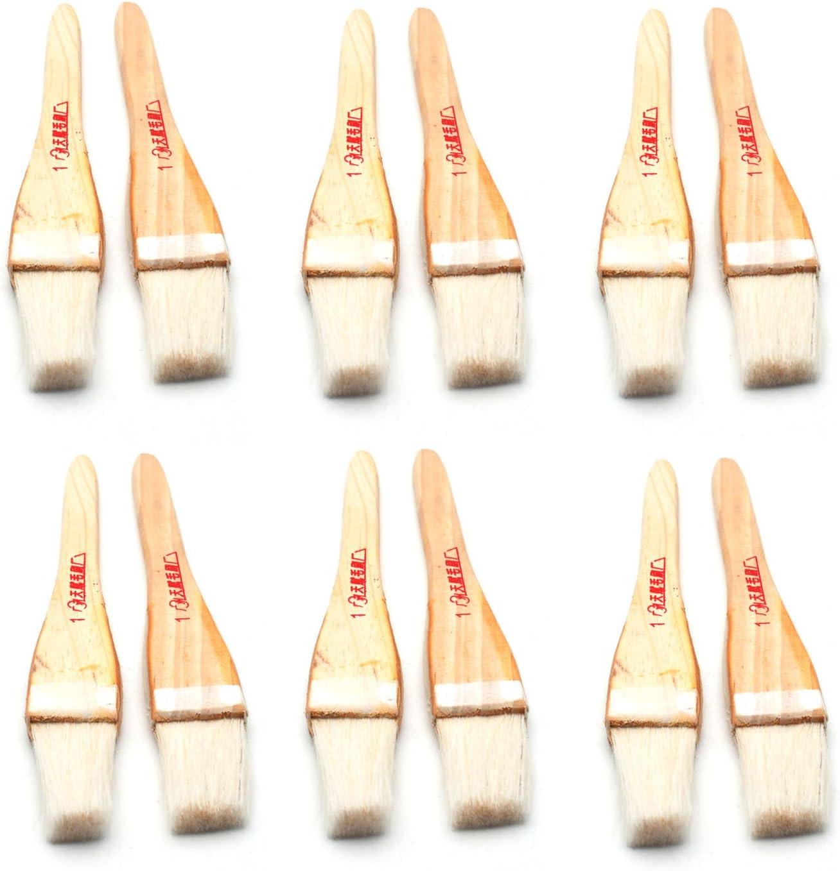 8 Wide Wood Texture Wooden Handle Beige Faux Wool Filament Oil Paintbrush