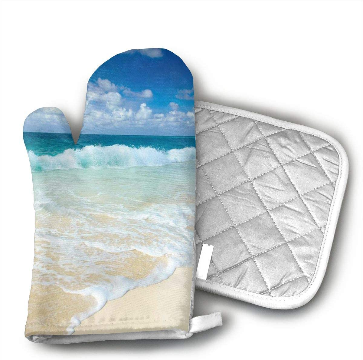 Beach with Foamy Waves On Empty Sea Shore Holiday Theme Serene Coastal Oven Mitts and Pot Holders Kitchen Mitten Cooking Gloves,Cooking, Baking, BBQ.