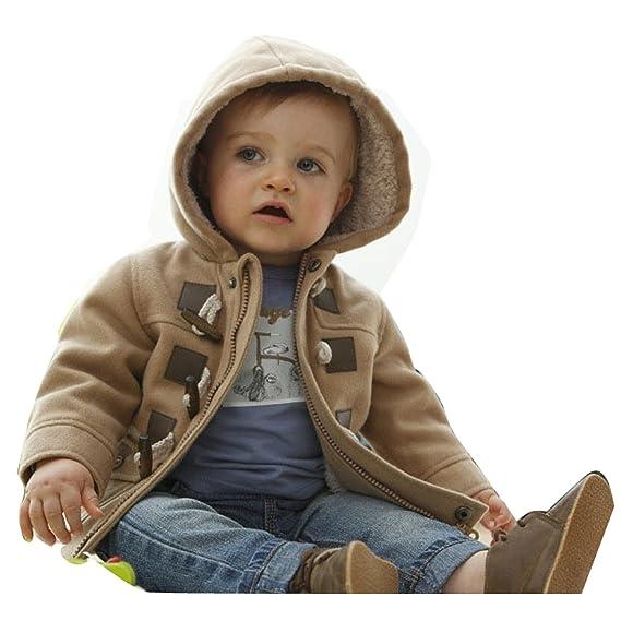 fb894d587 Baby Warm Fleece Hooded Coat Horn Button Outerwear Boy Snowsuit ...