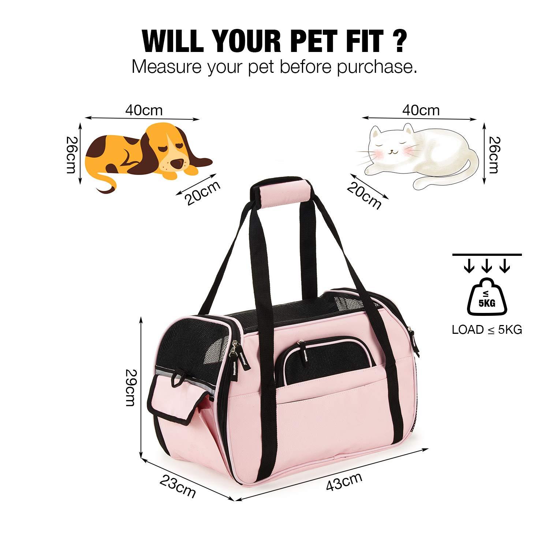Trasportino Cane Gatto Pet Carrier Pieghevole Impermeabile Borsa Tracolla  Imbottito Morbido Viaggio in Aereo Auto Treno per Animale Taglia Piccola  (Rosa S)  ... e087de25b50