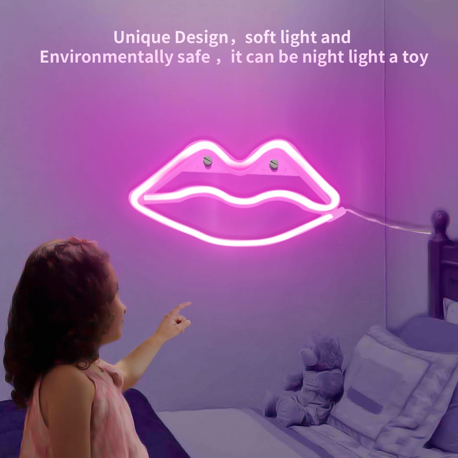 Lip Shaped Neon Signs Led Neon Light Art Decorative Lights Wall Decor for Children Baby Room Christmas Wedding Party Decoration