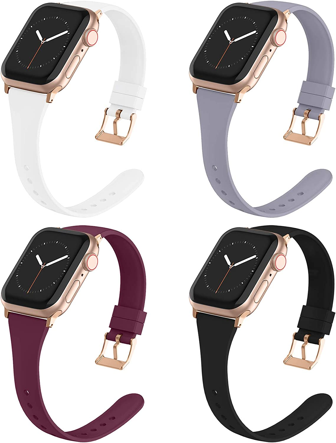 Compatible with Apple Watch Bands 38mm 40mm for Women Men, Adepoy Soft Silicone Narrow Slim Replacement Sport Wristbands for iWatch Series 6 5 4 3 2 1 SE, Small Black, Wine, Lavender, White