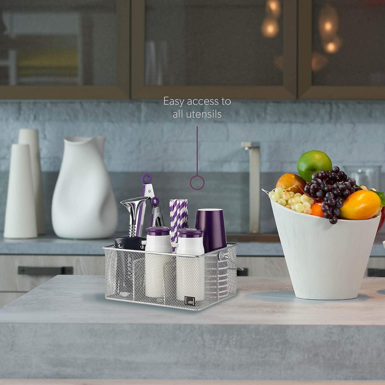 Mindspace Organisateur de Condiment de cuisine et couverts de table porte-ustensiles Silver