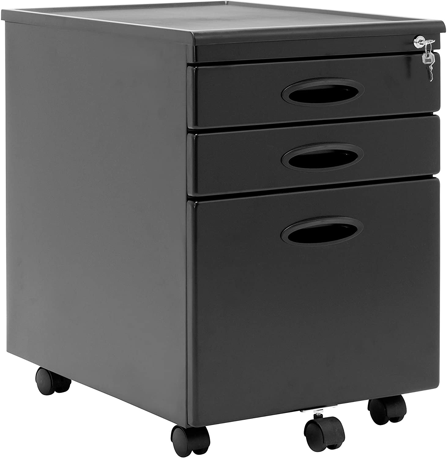 Calico Designs Metal Full Extension Locking 3 Drawer Mobile File Cabinet Assembled Except Casters For Legal Or Letter Files With Supply Organizer Tray In Black Furniture Decor