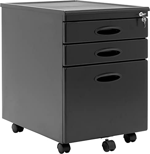 Calico Designs Metal Full Extension, Locking, 3-Drawer Mobile File Cabinet