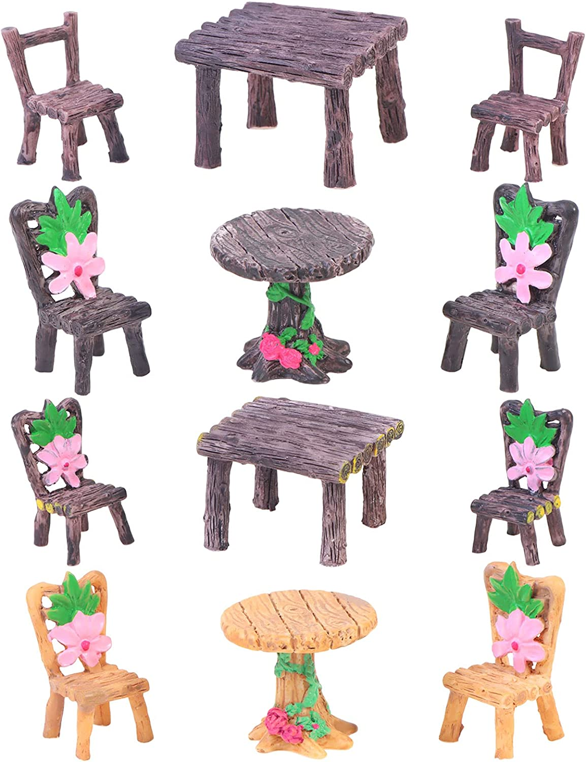 craftshou 12 Pieces Miniature Table and Chairs Set Fairy Garden Accessories Dollhouse Furniture Ornaments for Resin,Mini Table Chair Home Micro Landscape Decoration Supplies