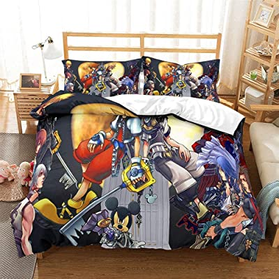 EVDAY Kingdom Hearts Duvet Cover Set for Kids 3D Cartoon Game Theme Printing Quilt Cover Bedding 3Piece Including 1Duvet Cover,2Pillowcases Twin Size: Home & Kitchen