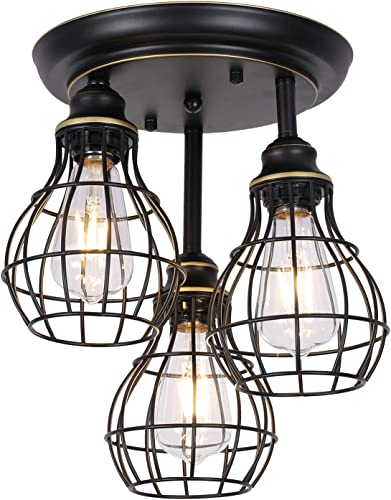 HMVPL Semi Flush Mount Pendant Lighting, 3-Lights Industrial Close to Ceiling Lights Fixtures, Iron Cage Pendant Light for Kitchen Island Dining Room Hallway Bedroom