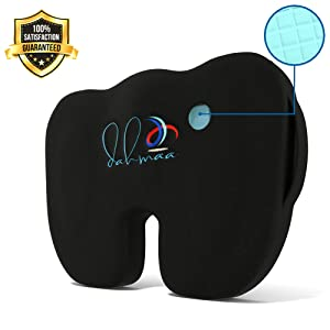 dahmaa Gel Enhanced Orthopedic Seat Cushion Memory Foam Pillow   Proven to Relieve Back & Tailbone Pain, Sciatica - Ideal for Chair, Car, Office & Travel. Non-Slip Lower Lumbar & Coccyx Support